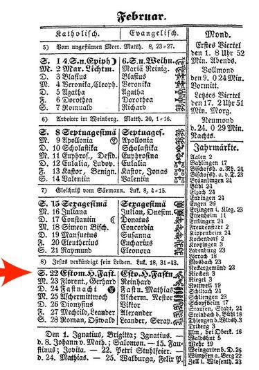 Kalender 1857