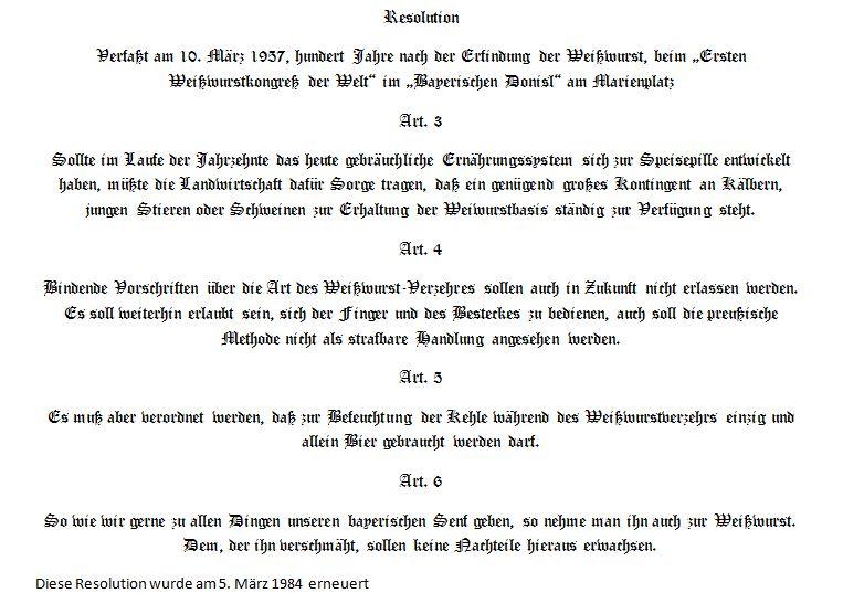 Weißwurst Resolution 1957 (2/2)