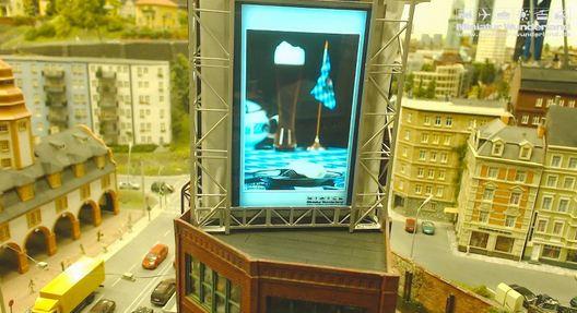 Das Bild vom Weißwurst Blog auf einer Werbefläche im Miniatur Wunderland Hamburg