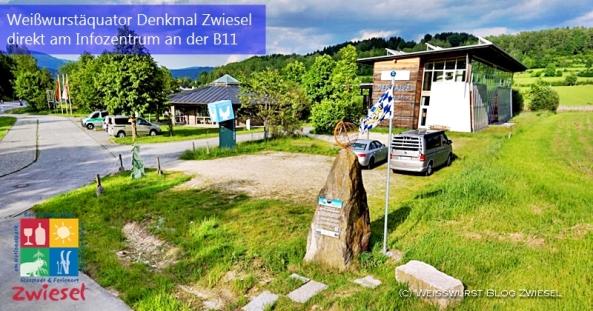 Das Weißwurstäquator Denkmal in Zwiesel. Einmalig in der Welt